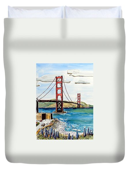 Golden Gate Bridge Duvet Cover by Terry Banderas