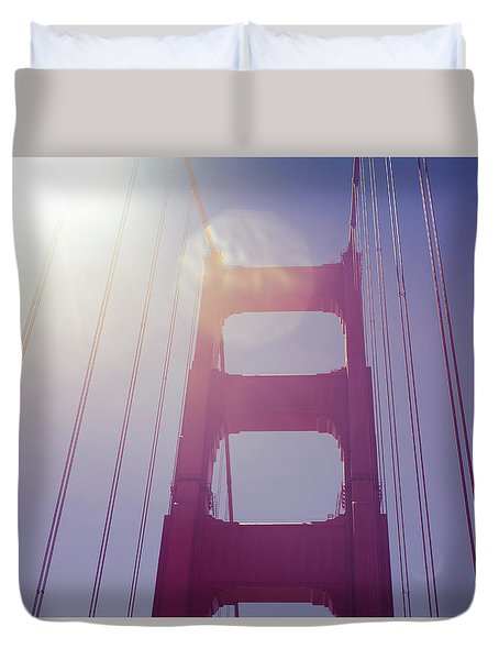 Golden Gate Bridge The Iconic Landmark Of San Francisco Duvet Cover by Jingjits Photography