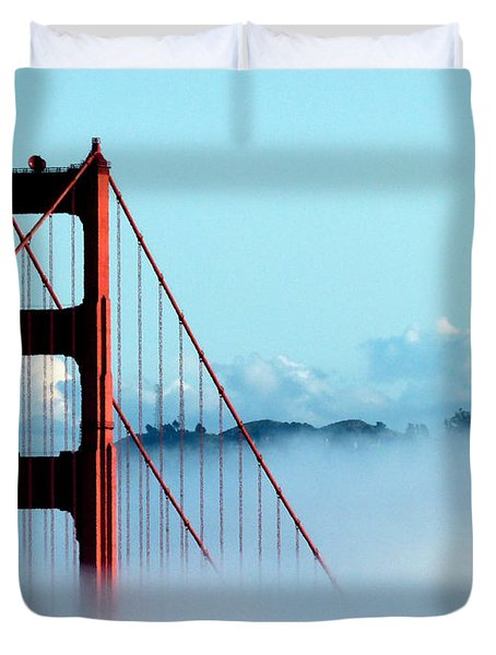 Golden Gate Bridge Tower Fog Antenna Duvet Cover