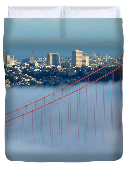 Golden Gate Bridge Tower In Sunshine And Fog Duvet Cover