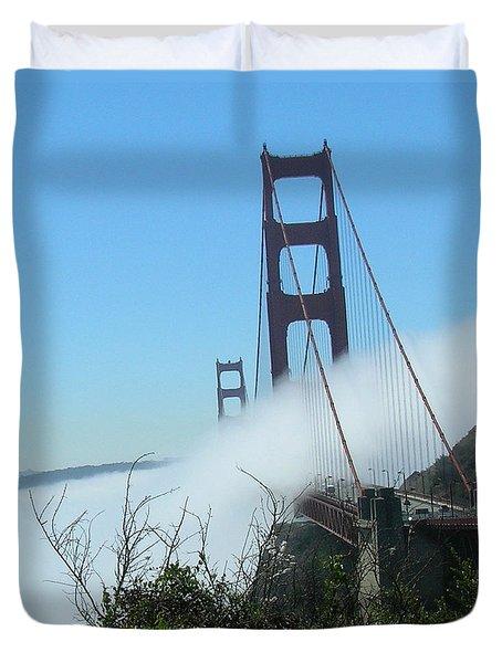 Golden Gate Bridge Towers In The Fog Duvet Cover
