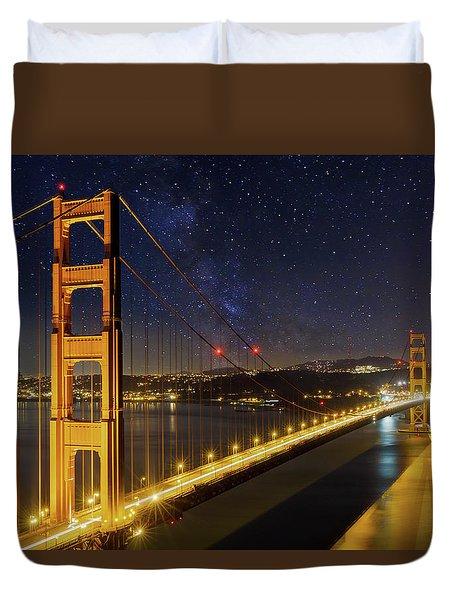 Golden Gate Bridge Under The Starry Night Sky Duvet Cover by David Gn