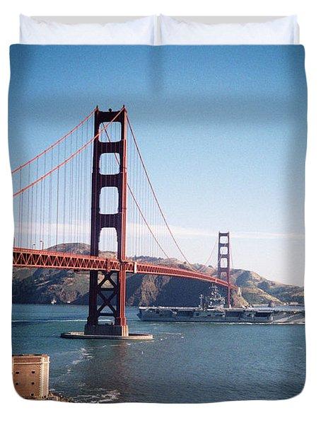 Golden Gate Bridge With Aircraft Carrier Duvet Cover