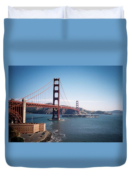Golden Gate Bridge With Aircraft Carrier Duvet Cover