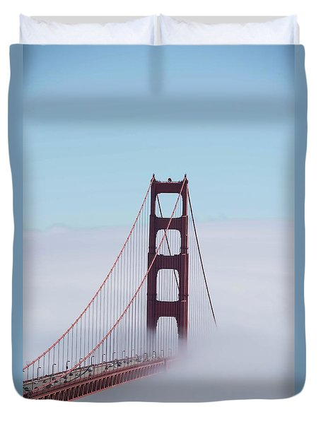 Duvet Cover featuring the photograph Golden Gate Fogged - 3 by David Bearden