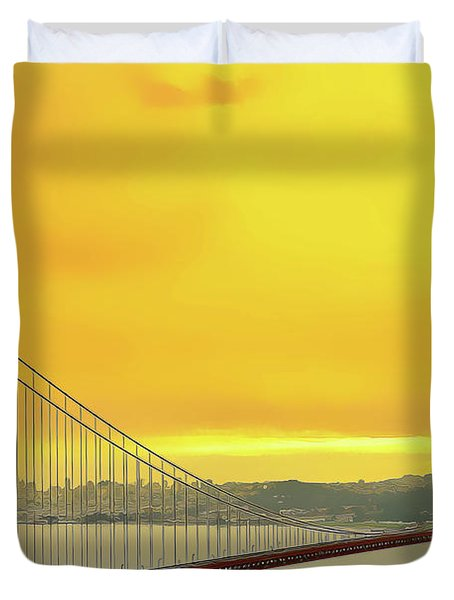 Duvet Cover featuring the painting Golden Gate by Harry Warrick