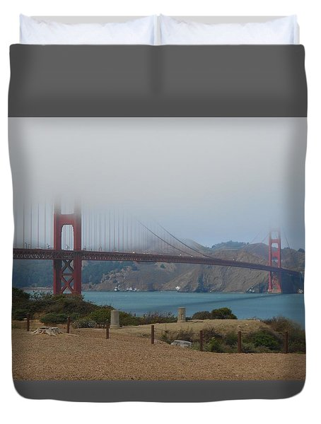 Golden Gate In The Clouds Duvet Cover