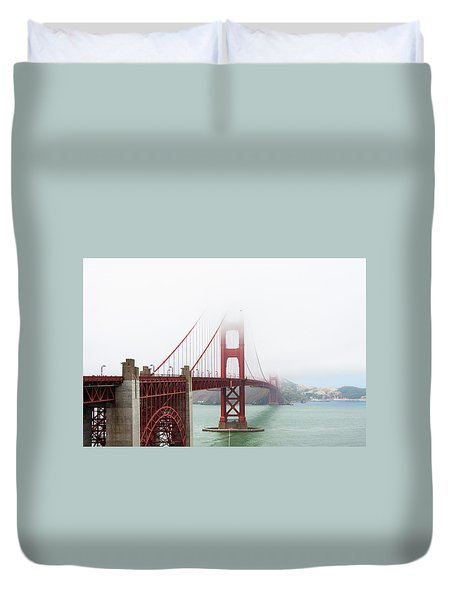 Golden Gate In The Fog Duvet Cover