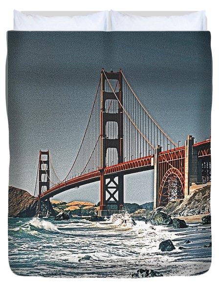 Golden Gate Surf Duvet Cover by Dennis Cox WorldViews