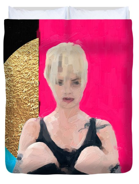 Duvet Cover featuring the digital art Golden Girl No. 3 by Serge Averbukh