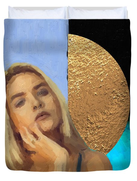 Duvet Cover featuring the digital art Golden Girl No. 4  by Serge Averbukh