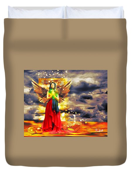 Golden Goddess Of Gratitude Duvet Cover