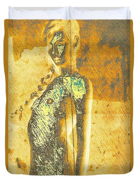 Golden Graffiti Duvet Cover by Andrea Barbieri