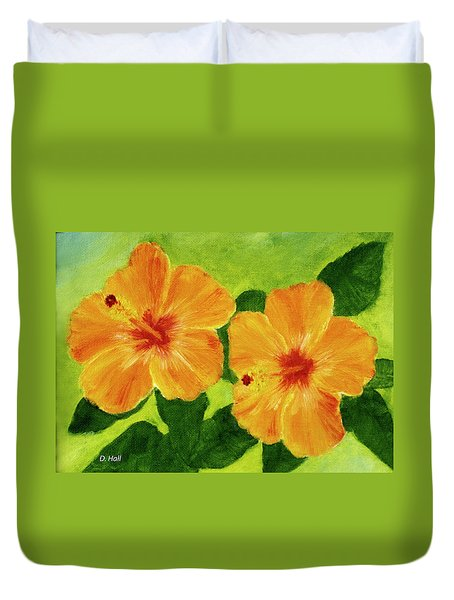 Golden Hawaii Hibiscus Flower #25 Duvet Cover by Donald k Hall