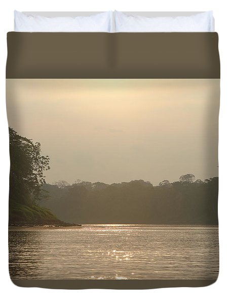 Golden Haze Covering The Amazon River Duvet Cover