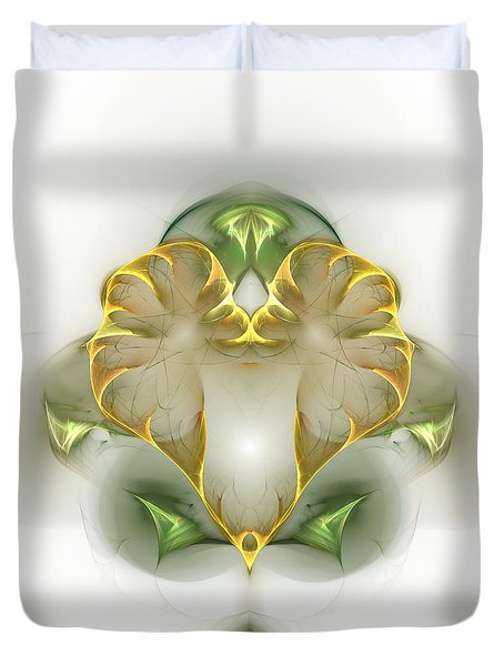Duvet Cover featuring the digital art Golden Heart by Richard Ortolano