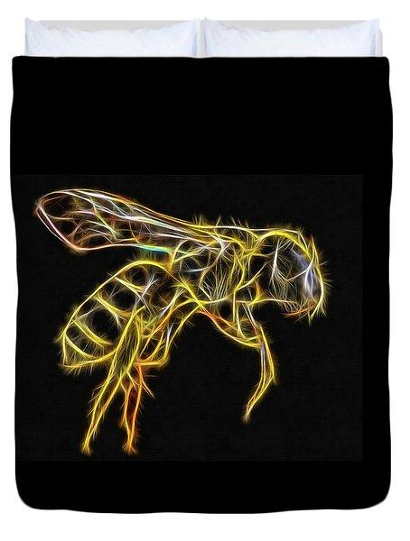 Golden Honey Bee Fractalized Duvet Cover