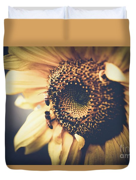 Duvet Cover featuring the photograph Golden Honey Bees And Sunflower by Sharon Mau