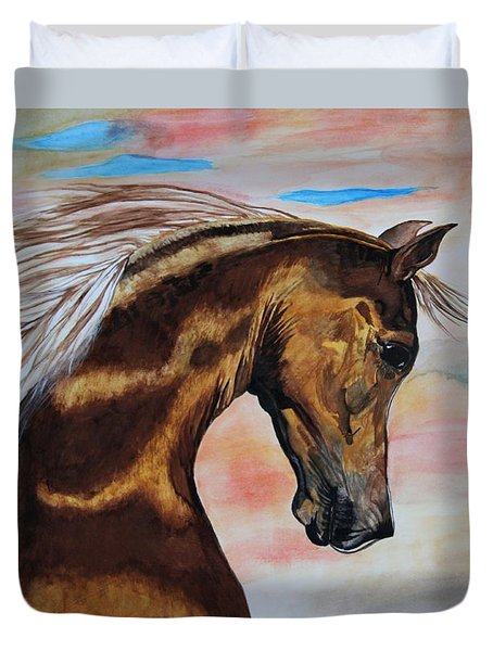 Golden Horse Duvet Cover by Melita Safran