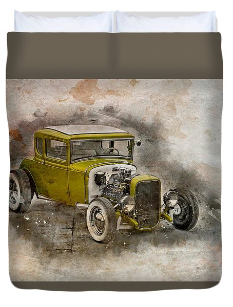 Duvet Cover featuring the photograph Golden Hot Rod by Joel Witmeyer