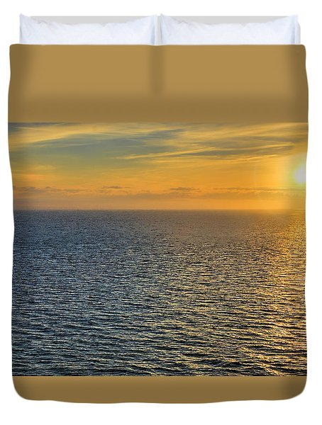 Golden Hour At Sea Duvet Cover