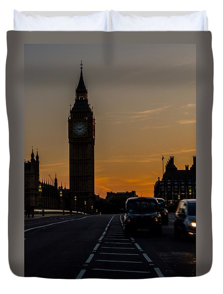 Golden Hour Big Ben In London Duvet Cover