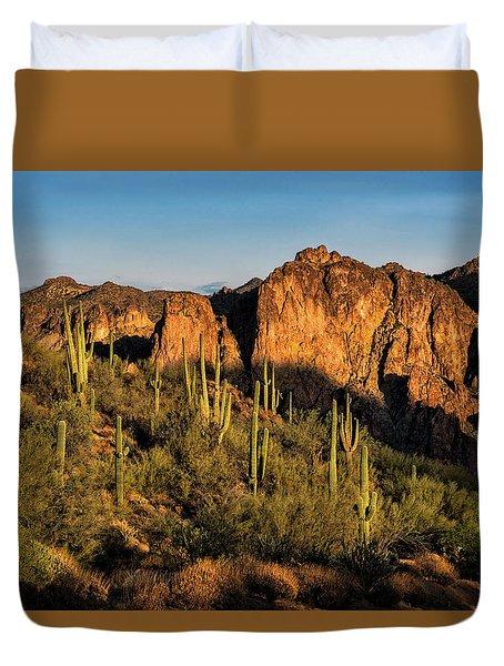 Duvet Cover featuring the photograph Golden Hour On Saguaro Hill  by Saija Lehtonen