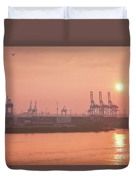 Golden Hour On The Elbe Duvet Cover