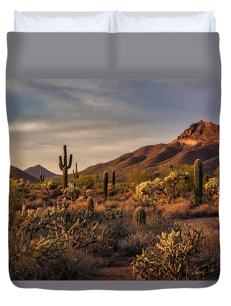 Duvet Cover featuring the photograph Golden Hour On The Usery  by Saija Lehtonen