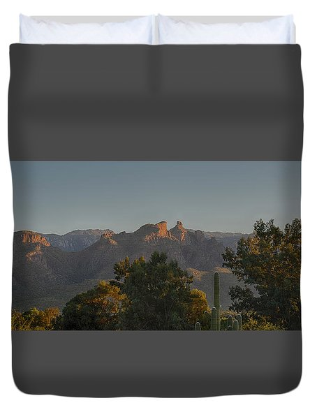 Golden Hour On Thimble Peak Duvet Cover