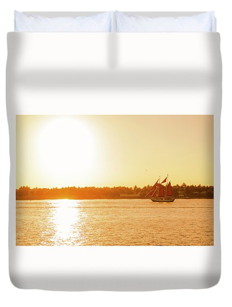 Golden Hour Sailing Ship Duvet Cover