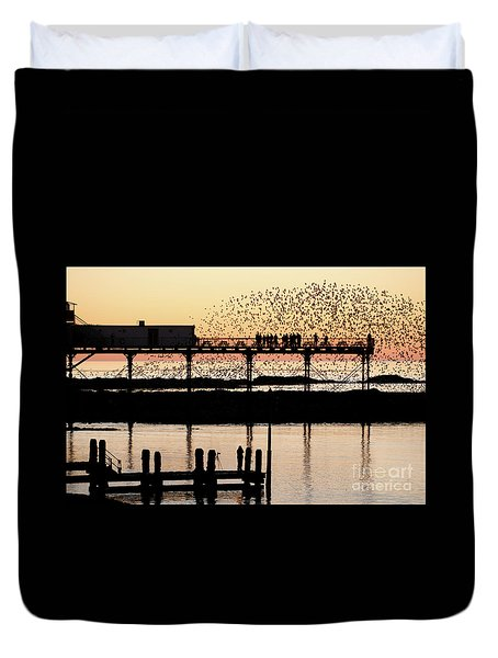 Golden Hour Starlings In Aberystwyth Duvet Cover
