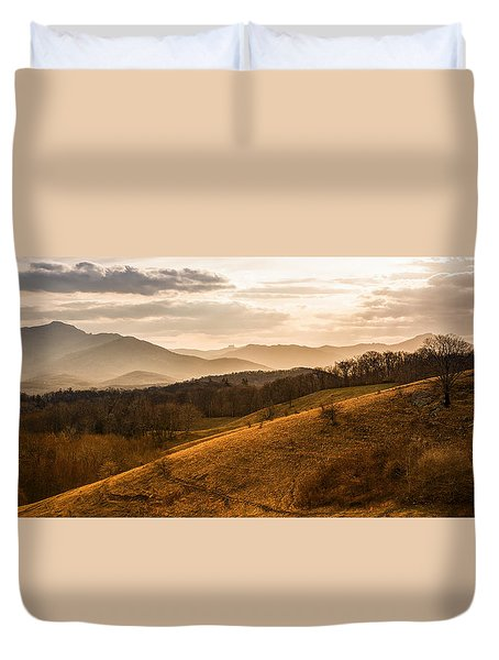 Grandfather Mountain Sunset - Moses Cone Blue Ridge Parkway Duvet Cover