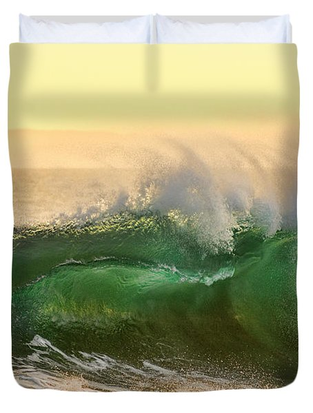 Golden Hour Waves Duvet Cover