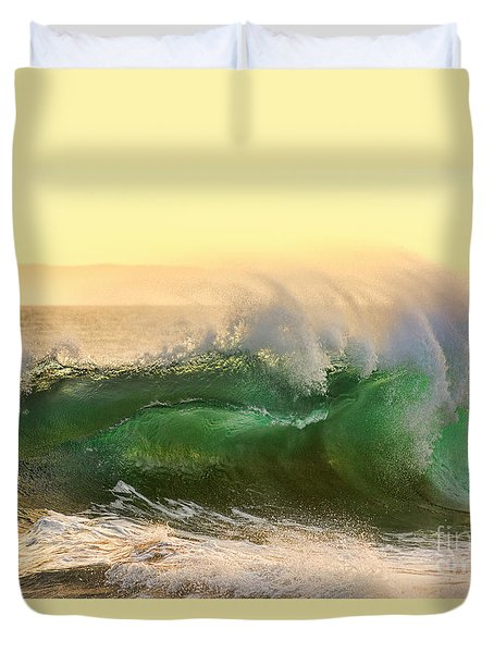 Golden Hour Waves Duvet Cover by Eddie Yerkish
