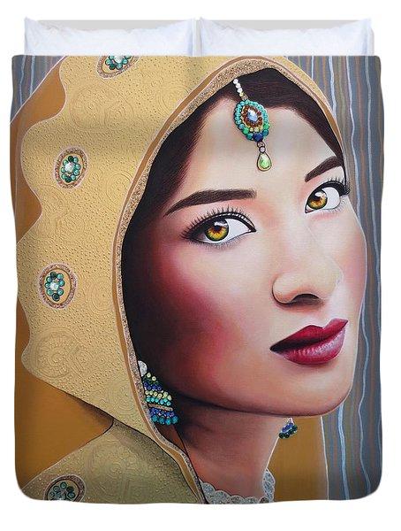 Golden Indian Bride Duvet Cover