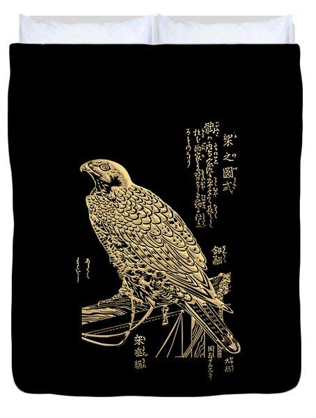 Golden Japanese Peregrine Falcon On Black Canvas  Duvet Cover