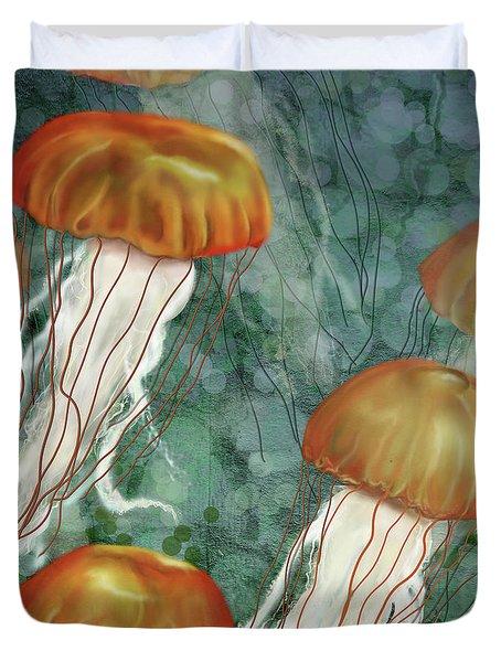 Golden Jellyfish In Green Sea Duvet Cover