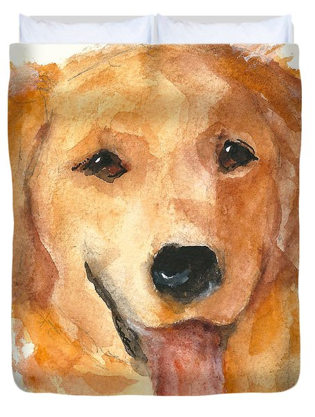 Golden Retriever Watercolor Painting By Kmcelwaine Duvet Cover