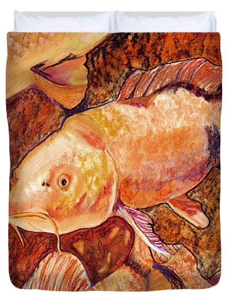 Golden Koi Duvet Cover by Pat Saunders-White
