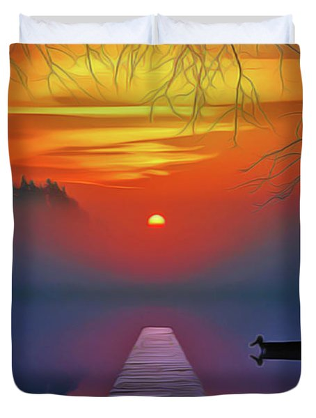 Duvet Cover featuring the painting Golden Lake by Harry Warrick