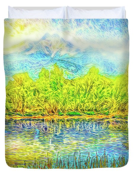 Golden Lake Reflections Duvet Cover by Joel Bruce Wallach