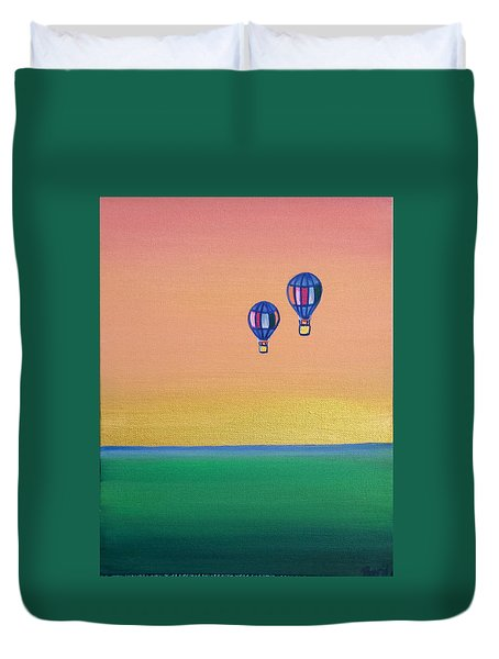 Golden Landscape And Balloons Duvet Cover by Beryllium Canvas