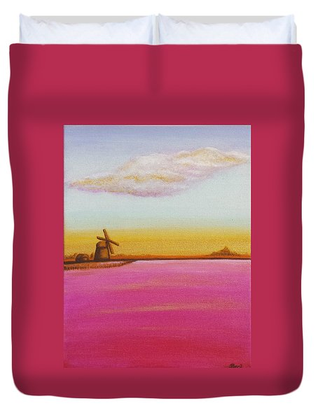Golden Landscape With Windmill Duvet Cover by Beryllium Canvas