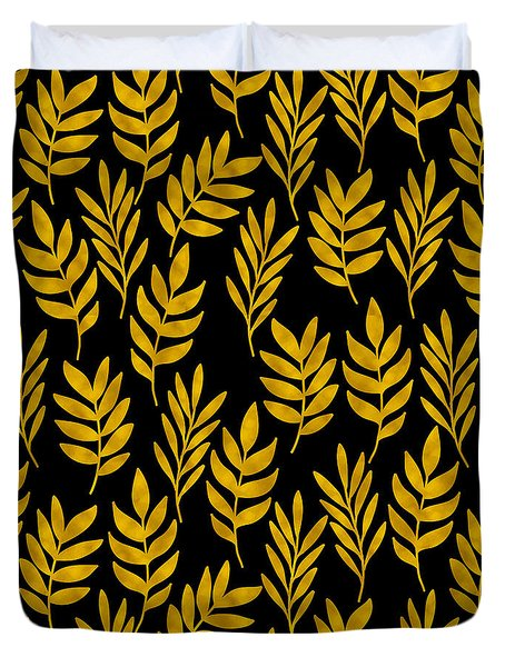 Golden Leaf Pattern Duvet Cover