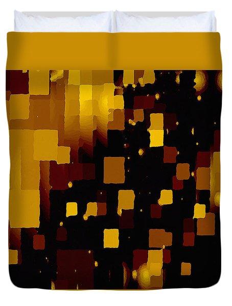 Duvet Cover featuring the digital art Golden Light And Dark  by Shelli Fitzpatrick