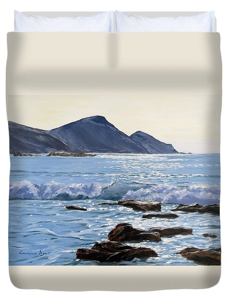 Duvet Cover featuring the painting Golden Light At Crackington Haven by Lawrence Dyer