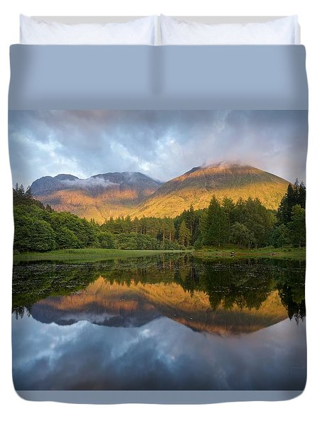 Golden Light At The Torren Lochan Duvet Cover