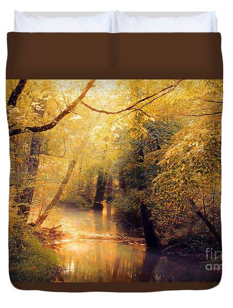 Duvet Cover featuring the photograph Golden Light by Geraldine DeBoer