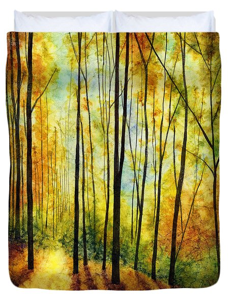 Duvet Cover featuring the painting Golden Light by Hailey E Herrera